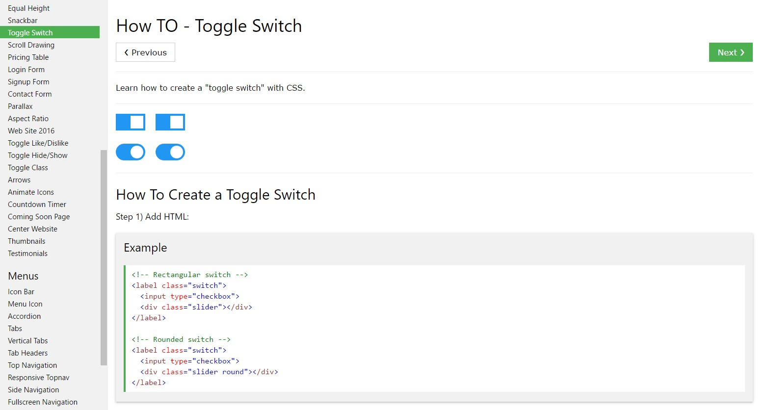 How you can create Toggle Switch