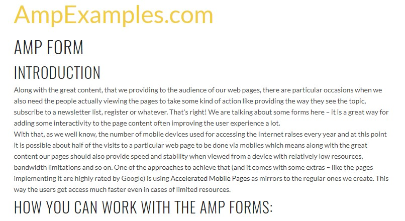 Let us  look over AMP project and AMP-form element?