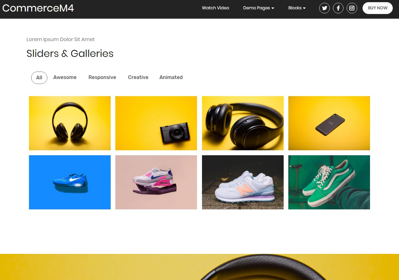 Sliders And Galleries Template for eCommerce Website