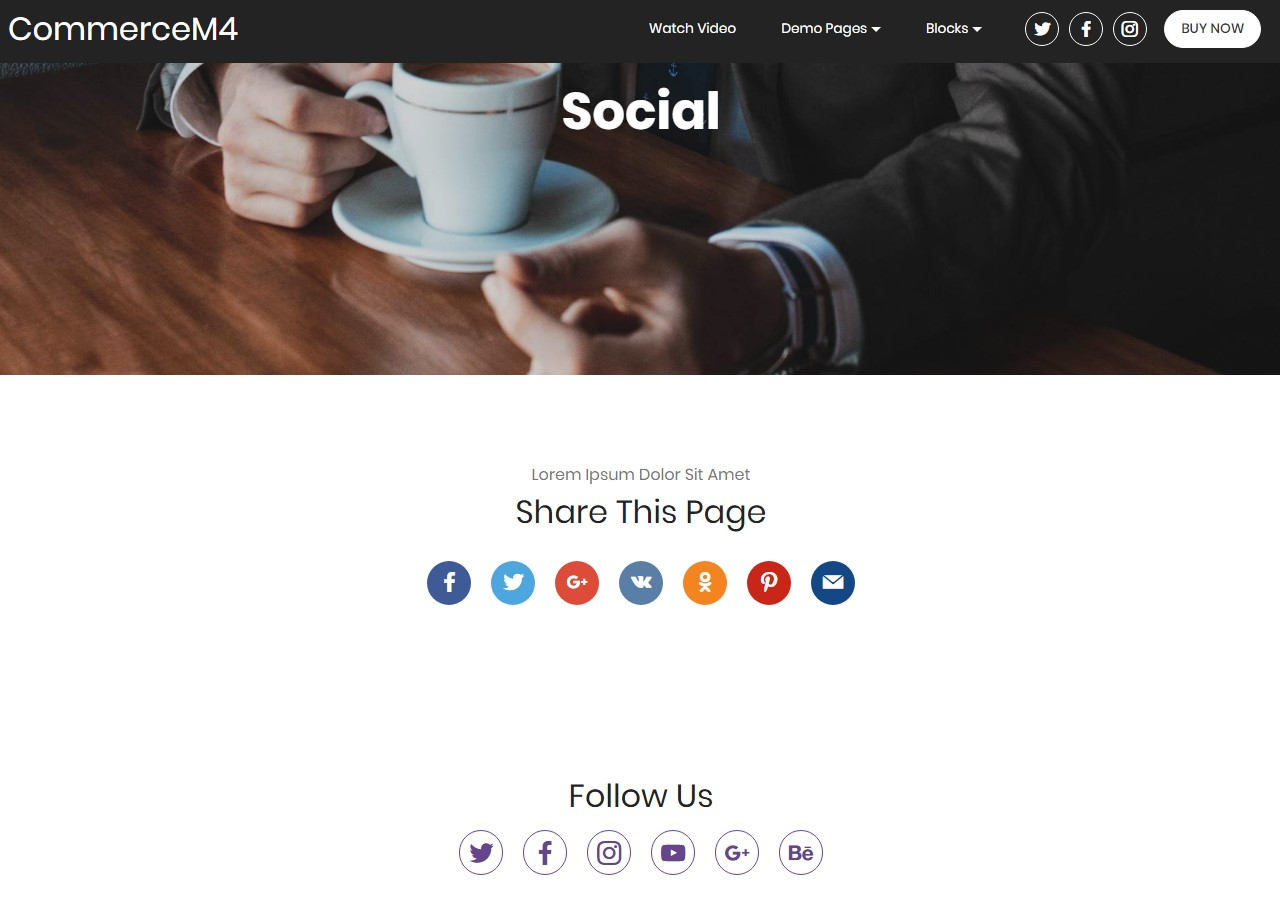 Social Template for eCommerce Website