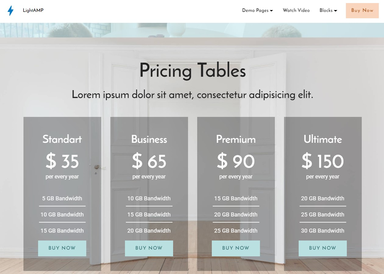 LightAMP Pricing Table Template