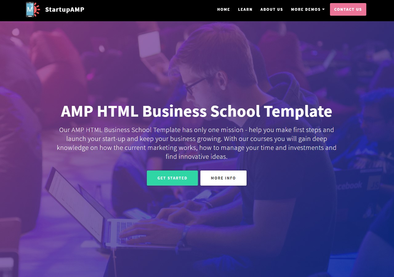 New Startup AMP HTML Business School Template